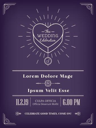 ornate heart: vintage wedding invitation design frame minimal style line art on purple background