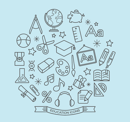 paper and pen: School and education line icons with outline style vector design elements Illustration