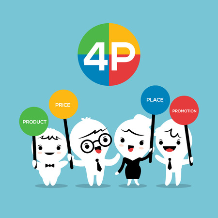 marketing mix: 4P Marketing mix Product Place Price Promotion Business concept cartoon illustration