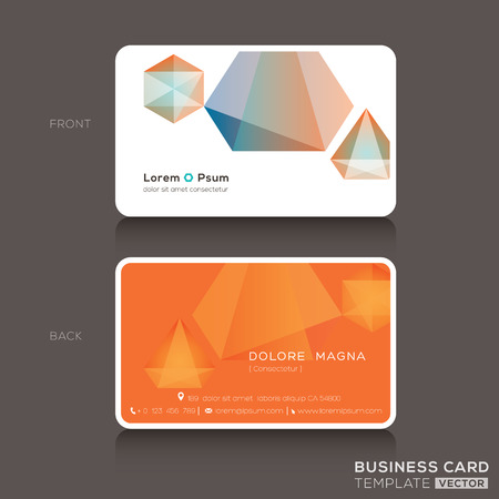 card symbols: Modern Business cards Design Template with low polygon style graphic Illustration