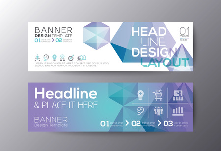 polygon: Set of modern design web banners template with abstract polygon background vector