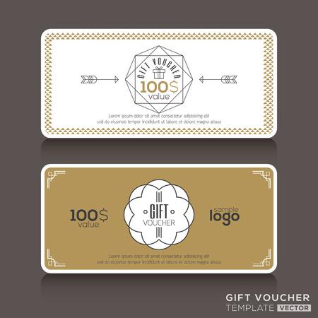 Cadeaubon bon coupon sjabloon met lijntekeningen hipster ontwerp Stock Illustratie