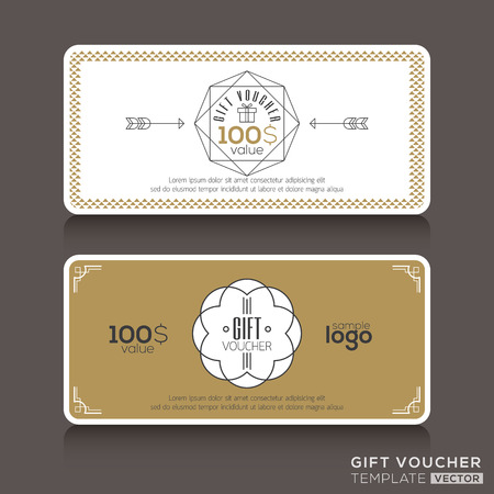 gift background: Gift certificate voucher coupon template with line art hipster design