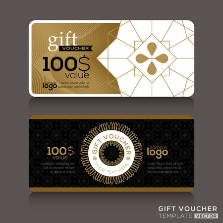 guilloche: Gift certificate voucher coupon template with gold guilloche pattern Illustration