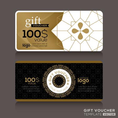 certificado: Vale de regalo plantilla de cup�n vale con l�neas entrecruzadas de oro Vectores