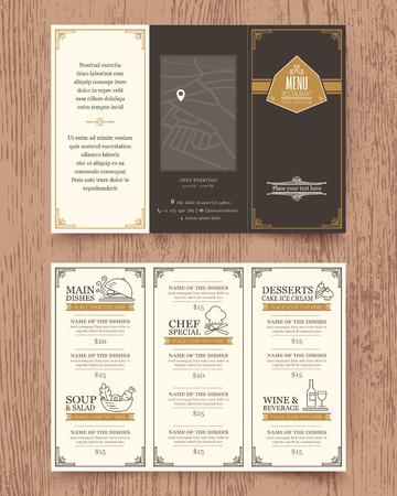 menu de postres: Men� del restaurante de dise�o vectorial plantilla de folleto de la vendimia de tama�o A4 Tri veces