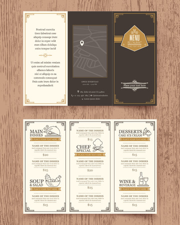 restaurant dining: Vintage Restaurant menu design pamphlet vector template in A4 size Tri fold Illustration