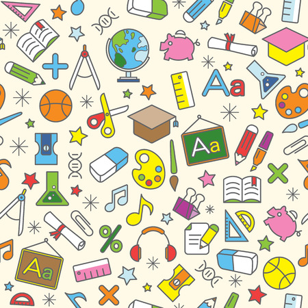 Colorful Seamless Pattern background of school and education icons design elements Vector