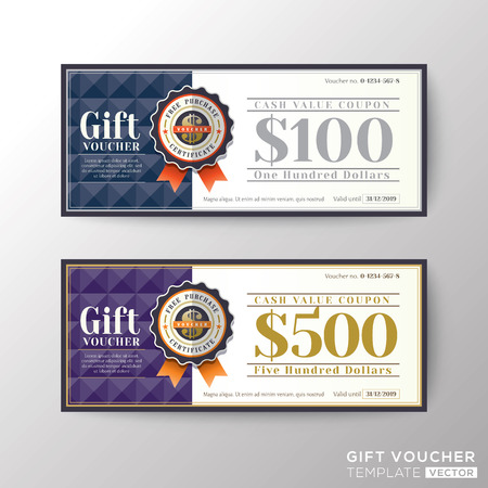 Gift certificate voucher coupon card background template Vectores