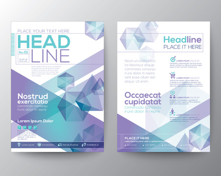 poster designs: Abstract polygon design vector template layout for magazine brochure flyer booklet cover annual report in A4 size