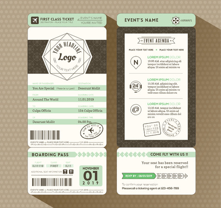 Hipster design Boarding Pass Ticket Event Invitation card vector Template Çizim