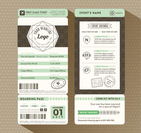 boarding card: Hipster disegno imbarco Invitation card Passo biglietteria evento vettoriale Modello