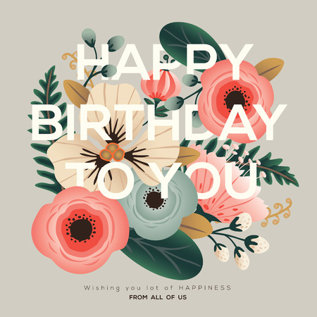 modern happy birthday greeting floral card Çizim