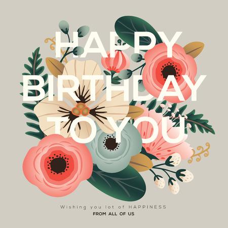 urodziny: Nowoczesny okazji urodzin karty z pozdrowieniami kwiatowy