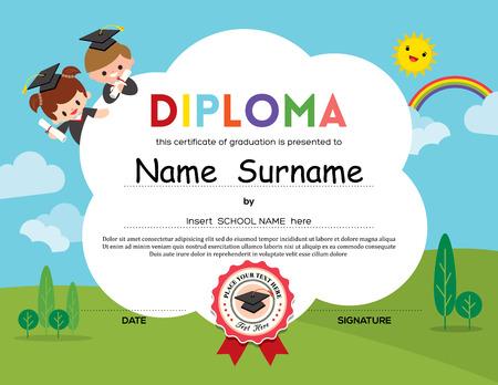 graduacion caricatura: Preescolar Los niños de la escuela primaria fondo certificado Diploma plantilla de diseño Vectores