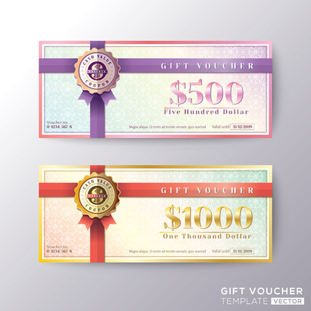 Gift certificate voucher coupon card background template  イラスト・ベクター素材