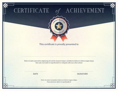 Certificate of achievement frame design template Stock Illustratie
