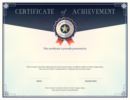 Certificate of achievement frame design template Vettoriali