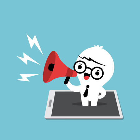 loud speaker: mobile marketing concept smart phone with pop up business man with megaphone cartoon illustration