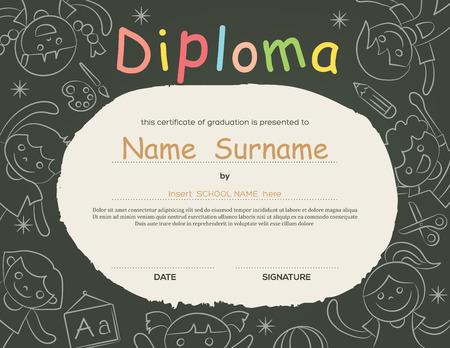 diploma: Preescolar Los ni�os de la escuela primaria fondo certificado Diploma plantilla de dise�o Vectores