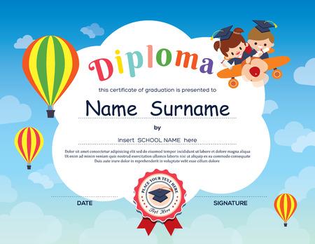 graduacion niños: Preescolar Los niños de la escuela primaria fondo certificado Diploma plantilla de diseño Vectores