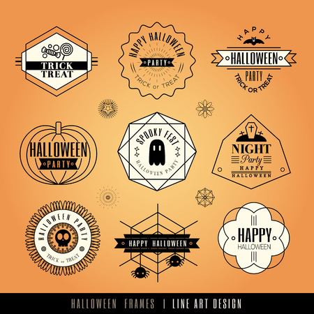Collection of Halloween Labels and frames with retro vintage styled design Vector