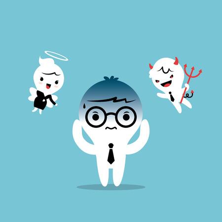 indeciso: Empresario confundirse entre ser bueno o malo ilustraci�n conceptual de dibujos animados Vectores