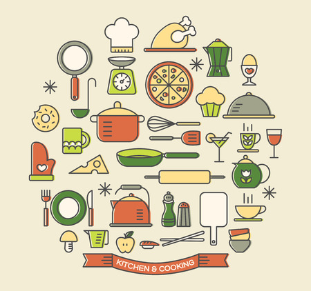 Cooking Foods and Kitchen color outline icons set
