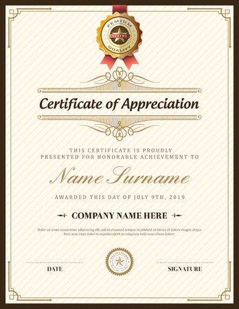 an achievement: Vintage retro frame certificate background design template