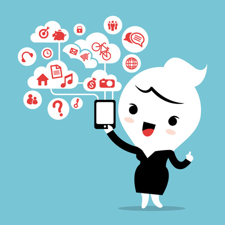woman girl: business woman with smartphone device cloud social network modern lifestyle concept cartoon illustration