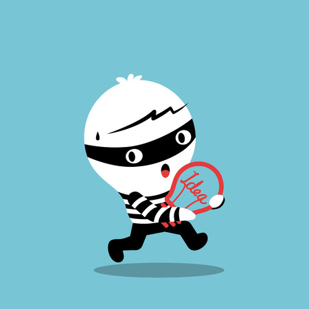 plagiarism: piracy thief stealing idea bulb cartoon illustration
