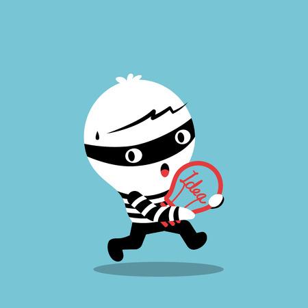 piracy thief stealing idea bulb cartoon illustration