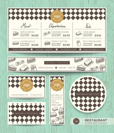 Restaurant café menu sandwich vecteur modèle de conception avec le diamant arlequin motif de fond Vecteurs