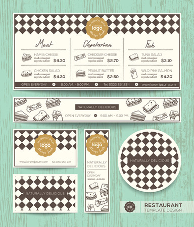delicatessen: Restaurant cafe sandwich vector menu design template with diamond harlequin pattern background