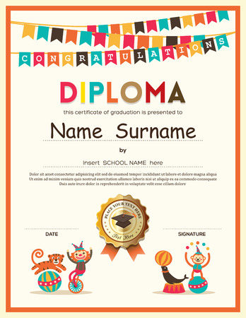 Preschool Elementary school Kids Diploma certificate template with bunting flags background design Vettoriali