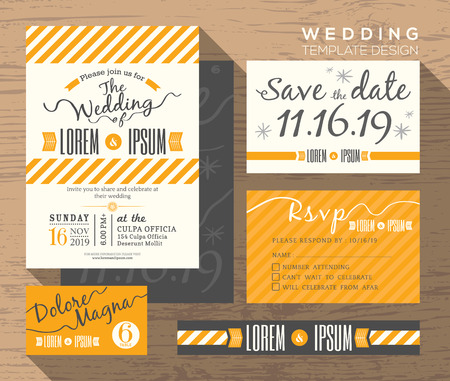 wedding invitation card: Modern yellow stripe theme design wedding invitation set Template Vector place card response card save the date card Illustration