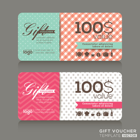 cute gift voucher certificate coupon design template Illustration