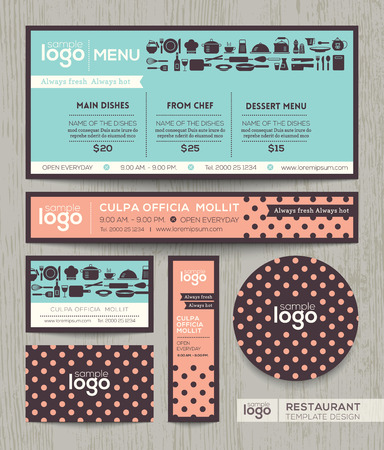 delicatessen: Restaurant cafe vector logo menu design template with pastel polka dot pattern background Illustration