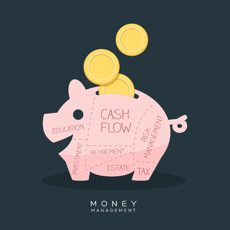 cash flows: Money Management Piggy Bank Vector Illustration Illustration