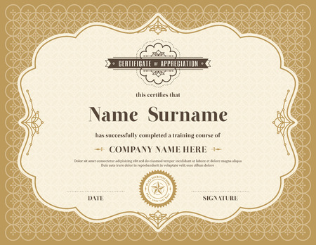 Vintage retro frame certificate background design template