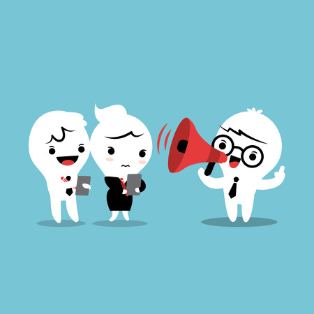 Feedback cartoon illustration with megaphone
