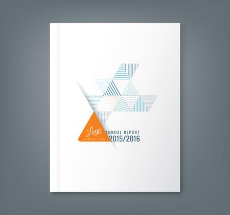 ビジネス年間レポート本カバー パンフレット チラシ ポスターの抽象的な三角形ストライプ図形背景  イラスト・ベクター素材