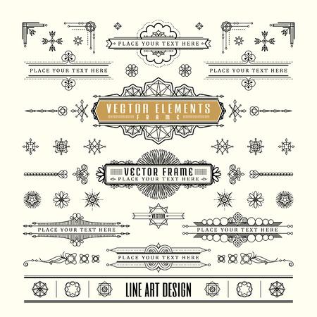 dekoration: Set von linearen dünne Linie Art Decoretro Vintage-Design Rahmenecke Abzeichen in geometrische Form Illustration