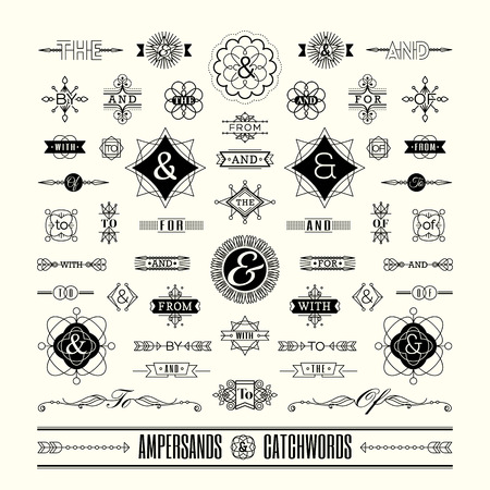 graphic: Set of catchwords ampersands in geometric thin line shape art deco retro vintage frame Illustration