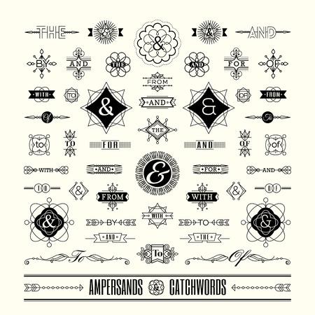 Set van trefwoorden ampersands in geometrische dunne lijn vorm art deco retro vintage frame
