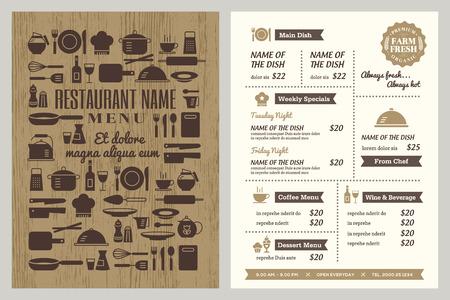 restaurante: Molde do projeto do menu do restaurante com utensílios de cozinha silhueta ícones fundo Ilustração