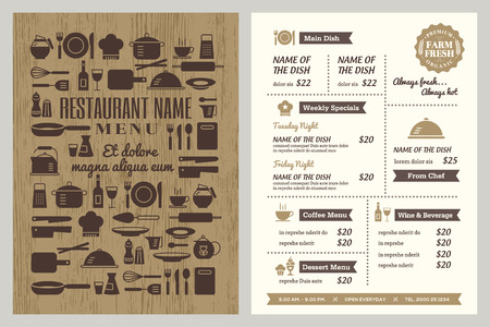 kitchen utensil: Restaurant menu design template with silhouette kitchen utensils icons background