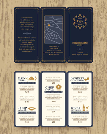 fold: Vintage Restaurant menu design pamphlet vector template in A4 size Tri fold Illustration