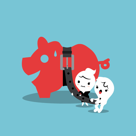 tightening: piggy bank with tight belt business financial concept illustration