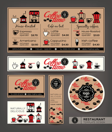 Coffee shop cafe set menu graphic design template